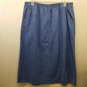 Ulla Popken 20 22 Blue Jean Denim Skirt Stretch